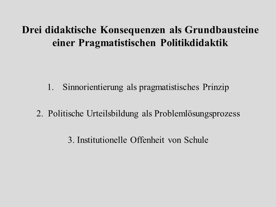 Drei didaktische Konsequenzen als Grundbausteine einer Pragmatistischen Politikdidaktik