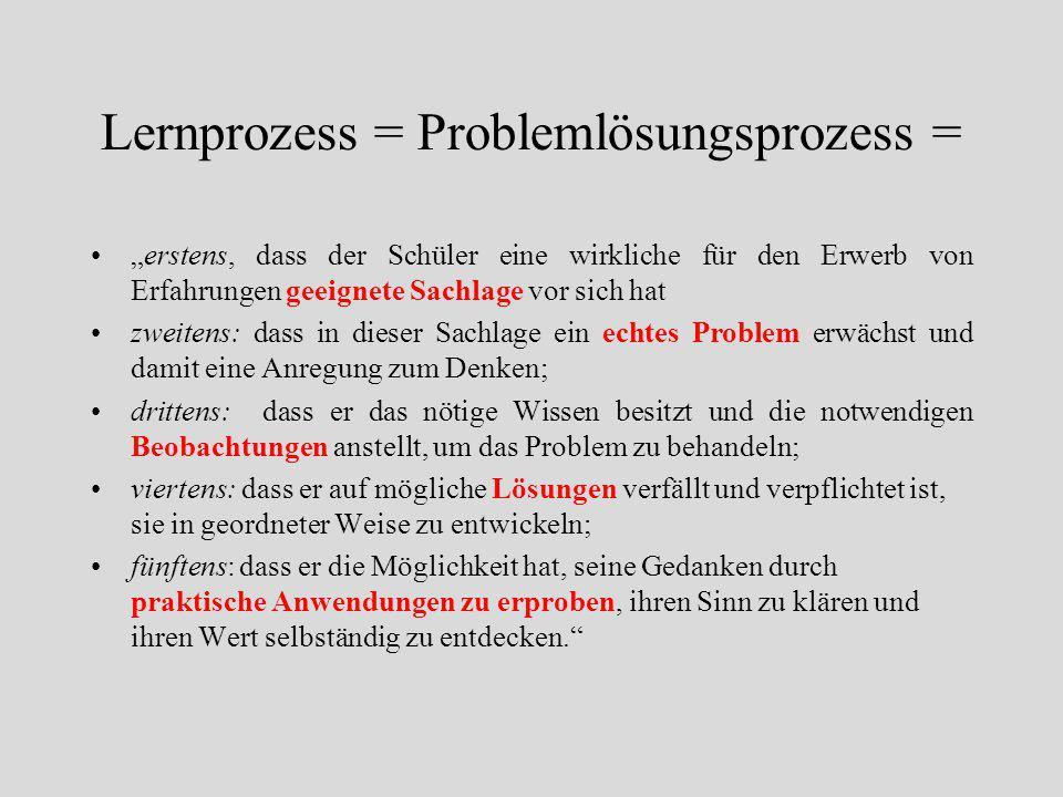 Lernprozess = Problemlösungsprozess =