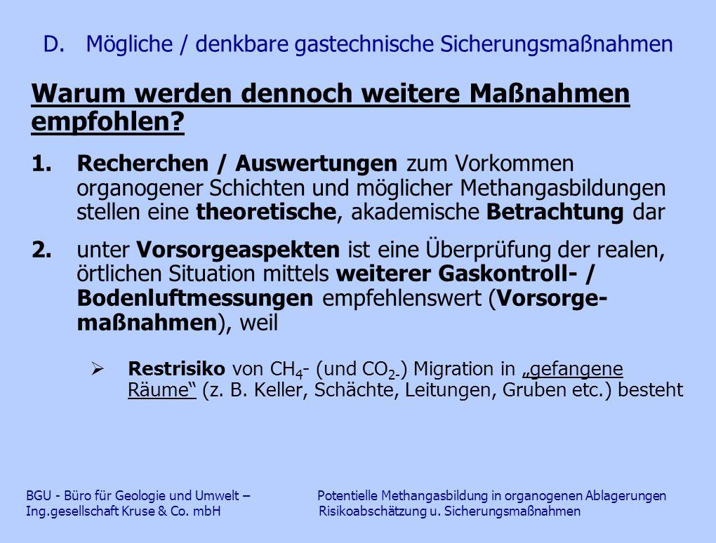 D. Mögliche / denkbare gastechnische Sicherungsmaßnahmen