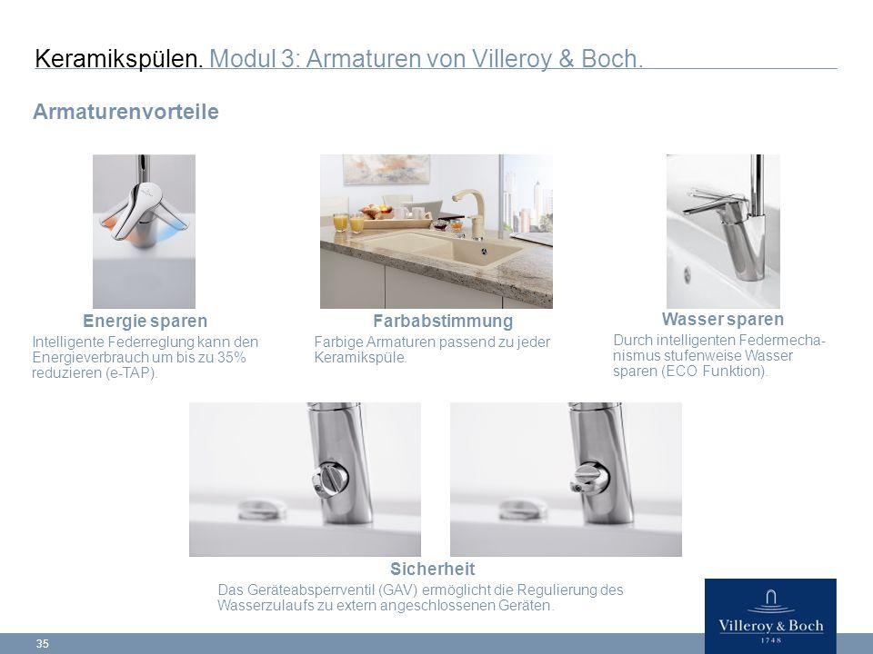 Keramikspülen. Modul 3: Armaturen von Villeroy & Boch.