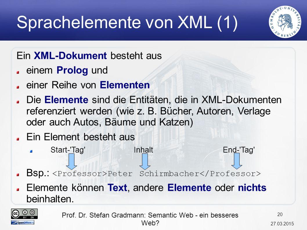 Sprachelemente von XML (1)