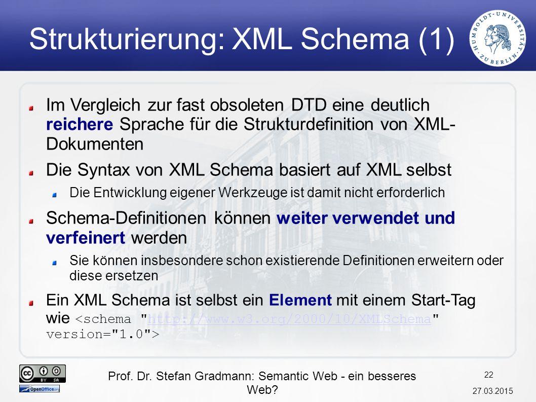 Strukturierung: XML Schema (1)