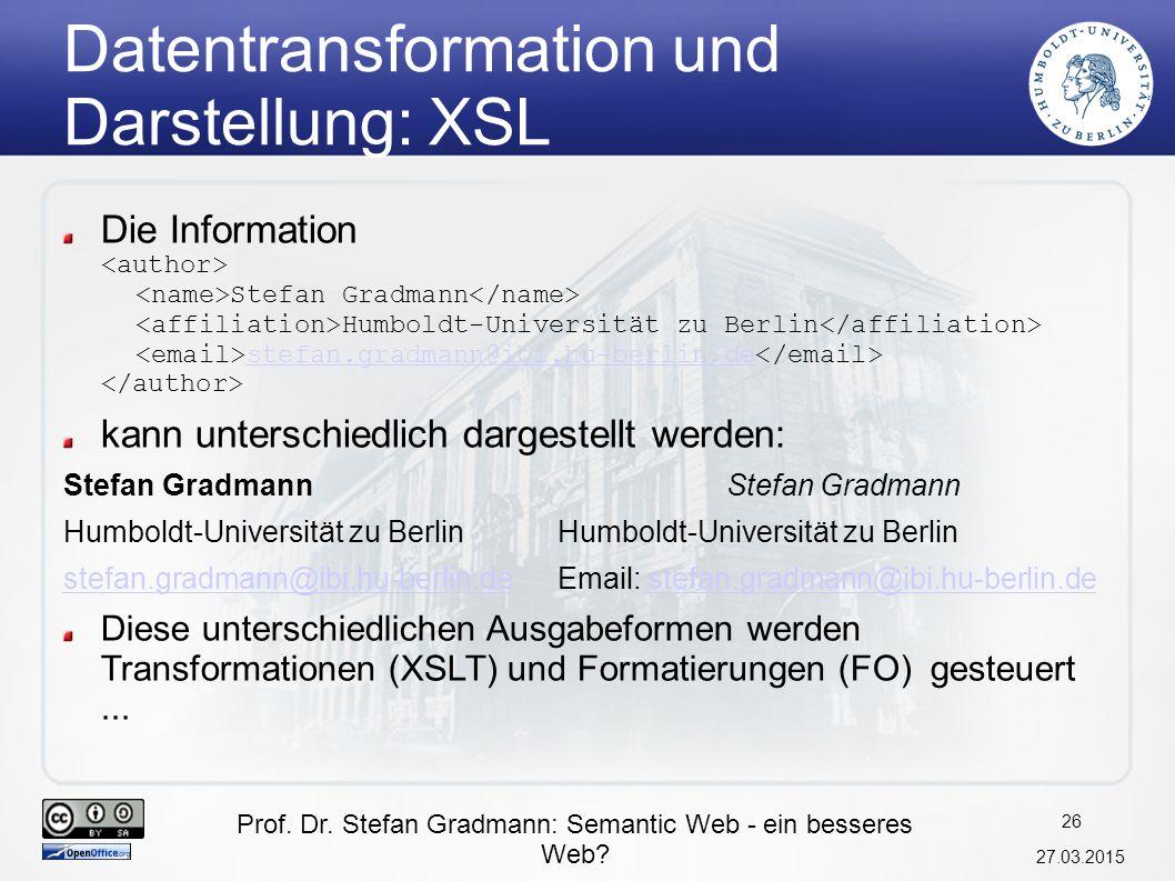 Datentransformation und Darstellung: XSL