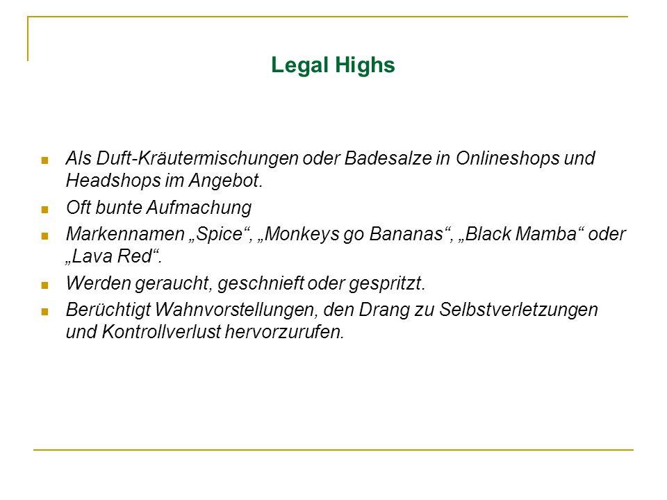 Legal Highs Als Duft-Kräutermischungen oder Badesalze in Onlineshops und Headshops im Angebot. Oft bunte Aufmachung.
