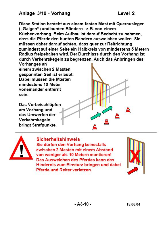 ! X Anlage 3/10 - Vorhang Level 2 Sicherheitshinweis