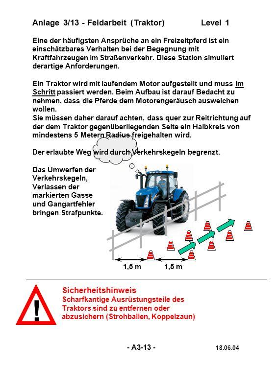 ! Anlage 3/13 - Feldarbeit (Traktor) Level 1 Sicherheitshinweis