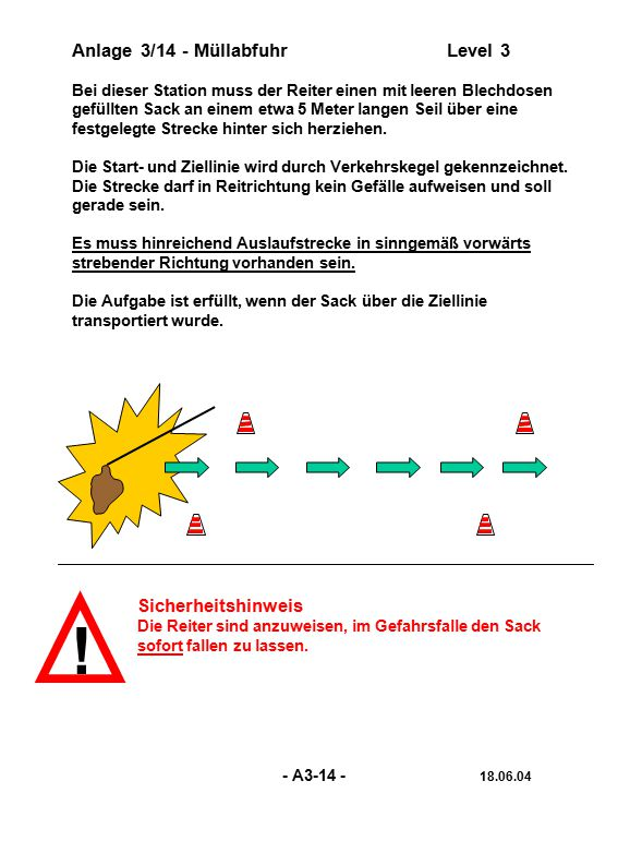 ! Anlage 3/14 - Müllabfuhr Level 3 Sicherheitshinweis