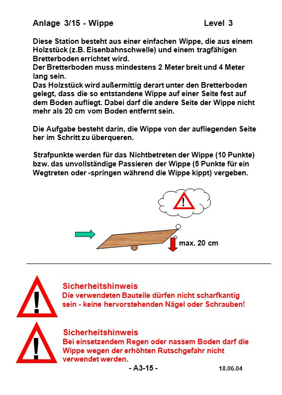 ! ! ! Anlage 3/15 - Wippe Level 3 Sicherheitshinweis