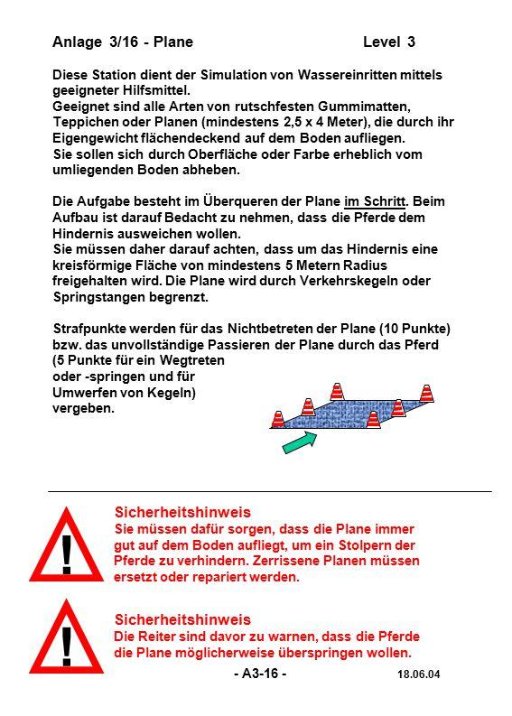 ! ! Anlage 3/16 - Plane Level 3 Sicherheitshinweis Sicherheitshinweis