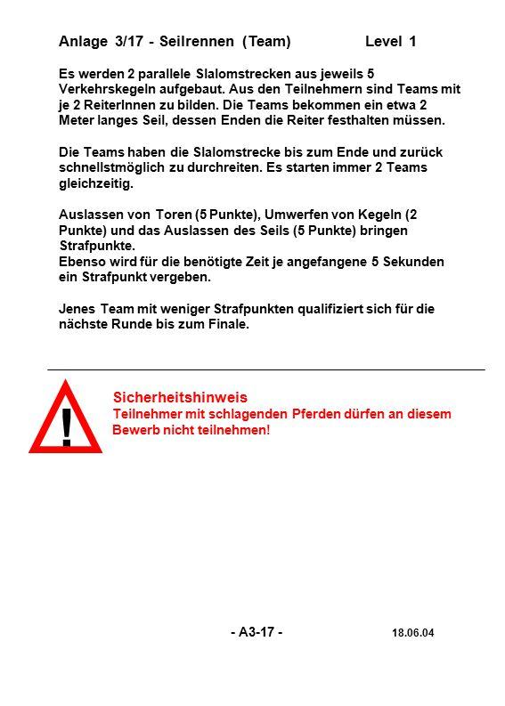 ! Anlage 3/17 - Seilrennen (Team) Level 1 Sicherheitshinweis