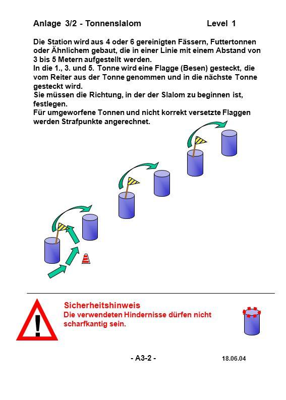 ! Anlage 3/2 - Tonnenslalom Level 1 Sicherheitshinweis