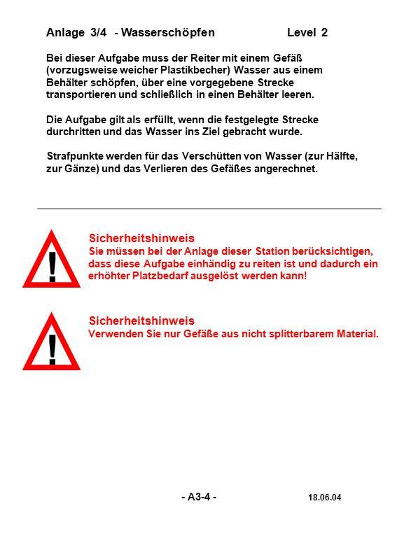 ! ! Anlage 3/4 - Wasserschöpfen Level 2 Sicherheitshinweis