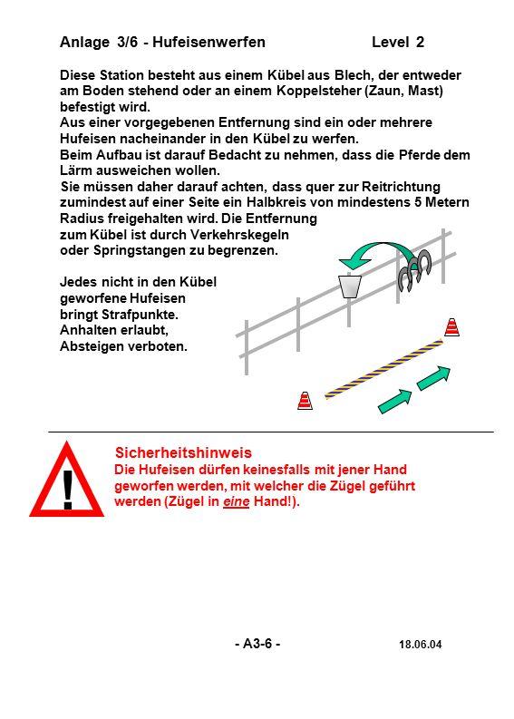 ! Anlage 3/6 - Hufeisenwerfen Level 2 Sicherheitshinweis