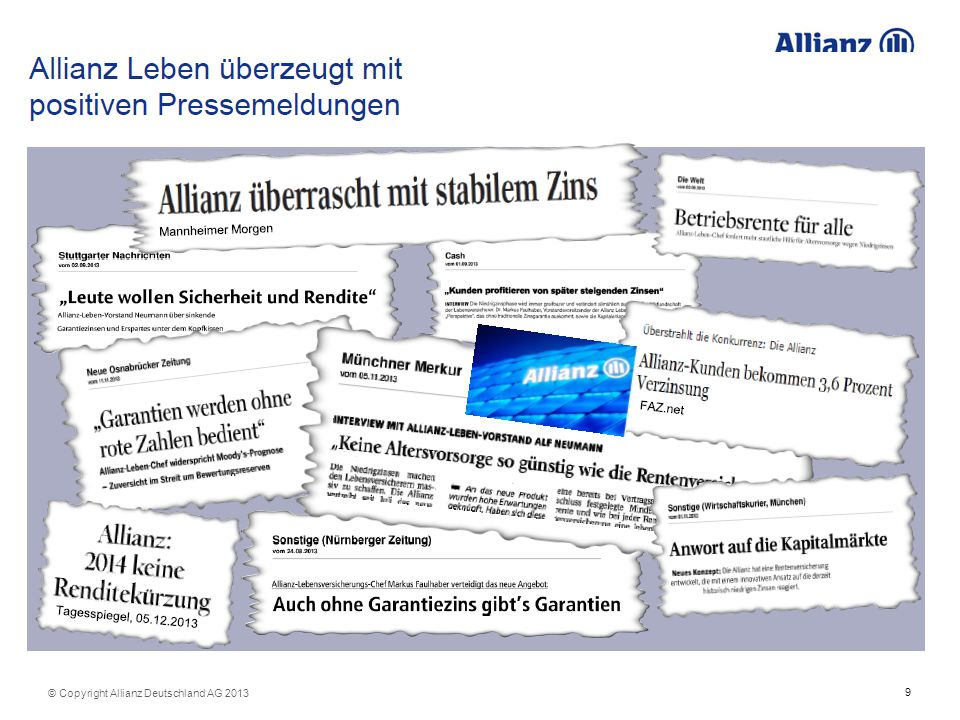 © Copyright Allianz Deutschland AG 2013