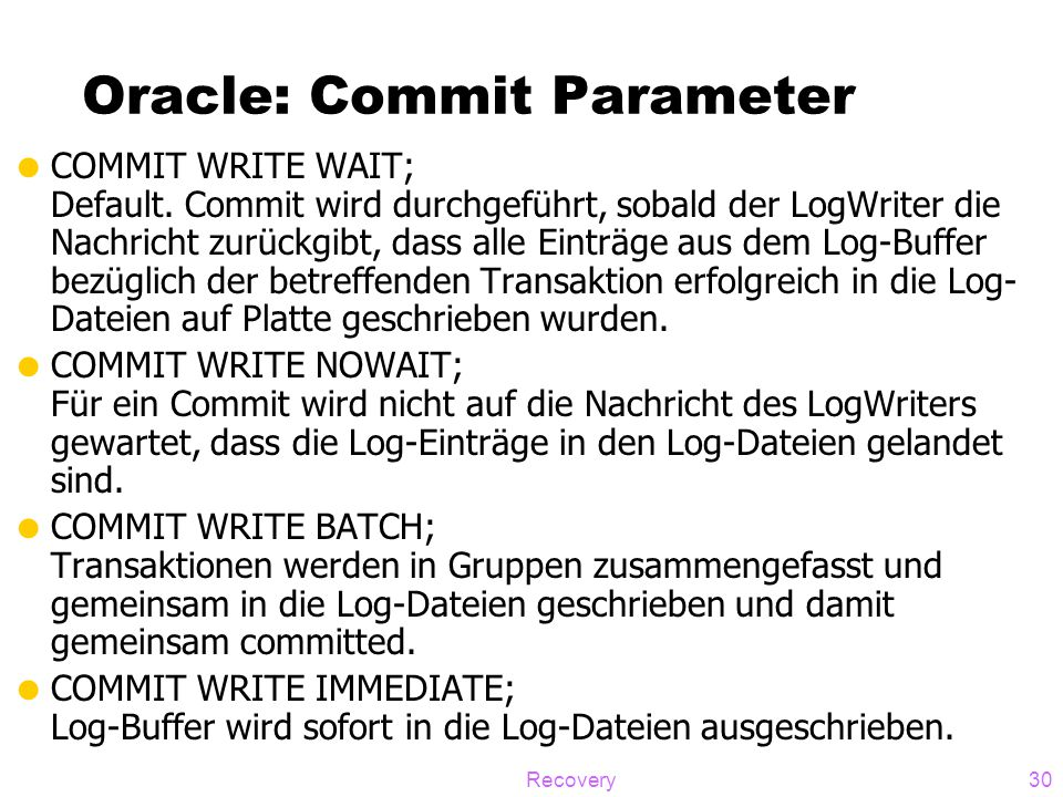 Oracle: Commit Parameter