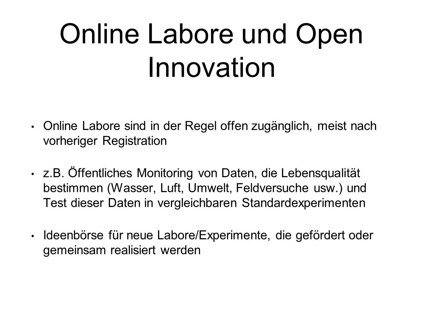 Online Labore und Open Innovation