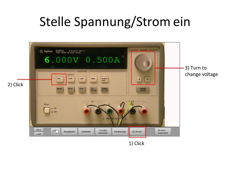 Stelle Spannung/Strom ein