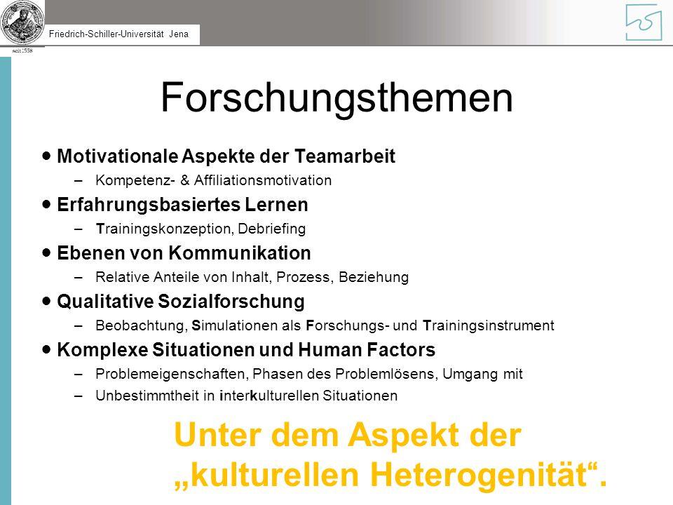 """Forschungsthemen Unter dem Aspekt der """"kulturellen Heterogenität ."""