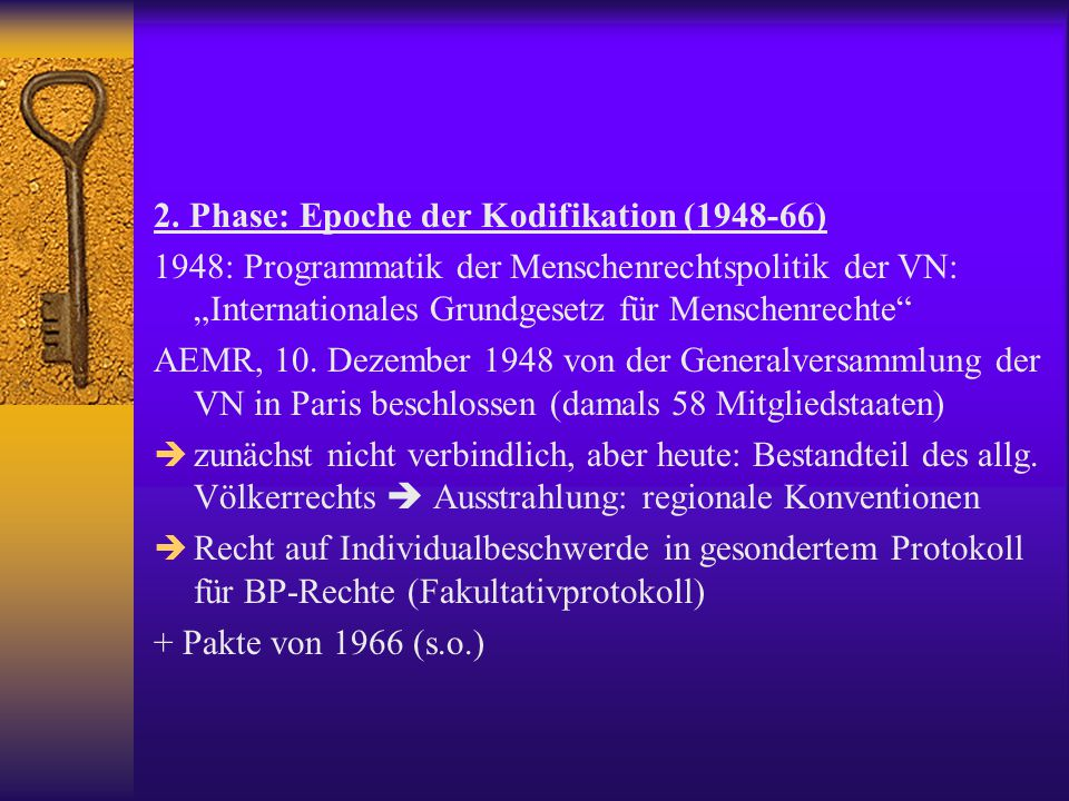 2. Phase: Epoche der Kodifikation (1948-66)