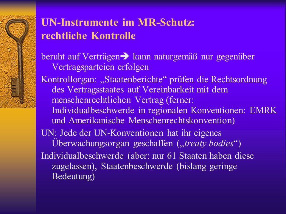 UN-Instrumente im MR-Schutz: rechtliche Kontrolle