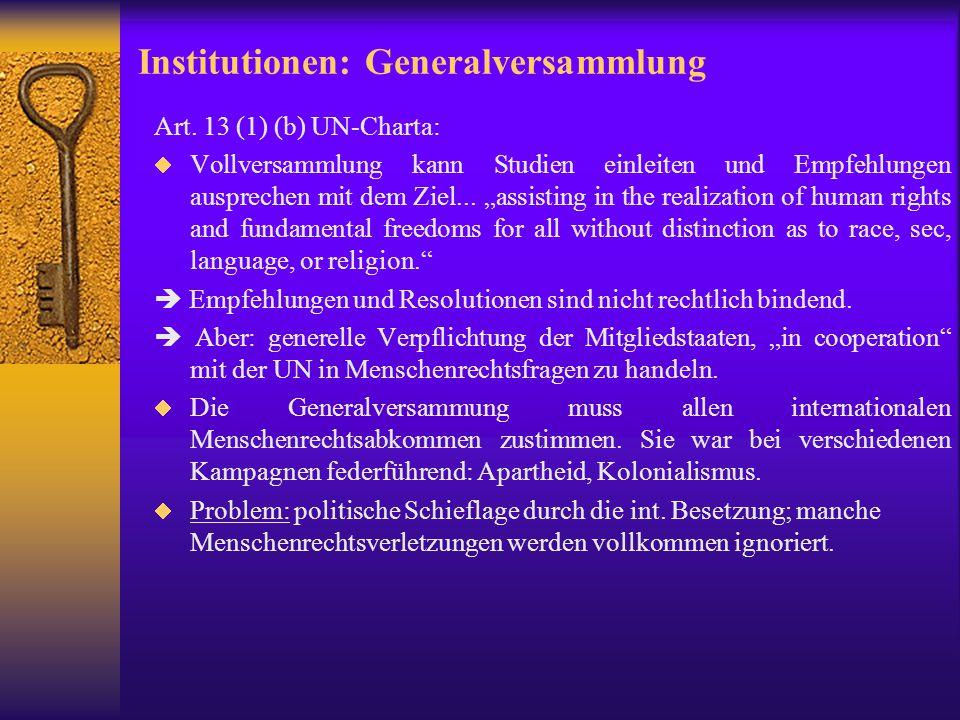 Institutionen: Generalversammlung