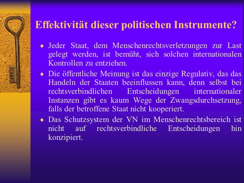 Effektivität dieser politischen Instrumente