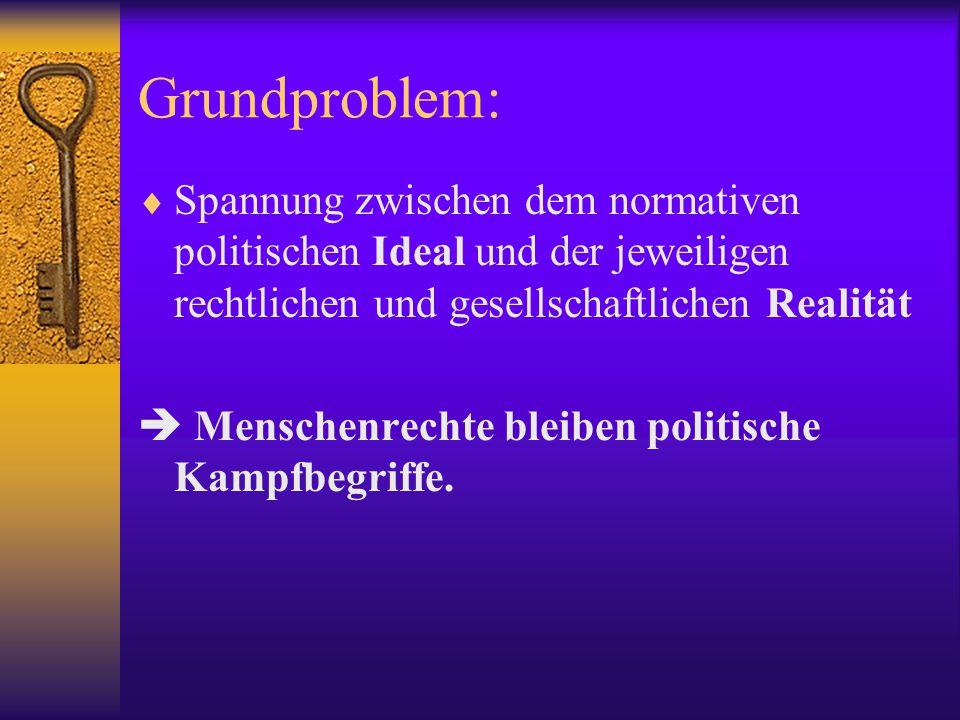 Grundproblem: Spannung zwischen dem normativen politischen Ideal und der jeweiligen rechtlichen und gesellschaftlichen Realität.