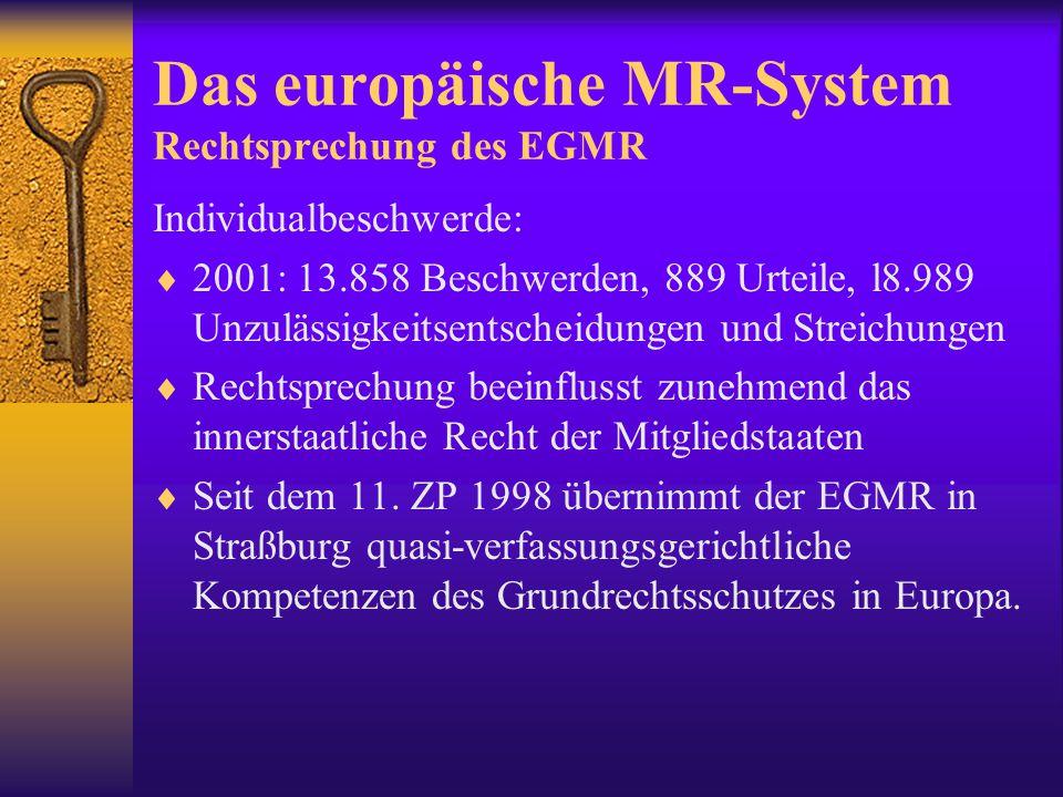 Das europäische MR-System Rechtsprechung des EGMR