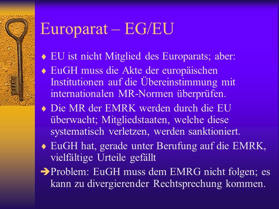 Europarat – EG/EU EU ist nicht Mitglied des Europarats; aber: