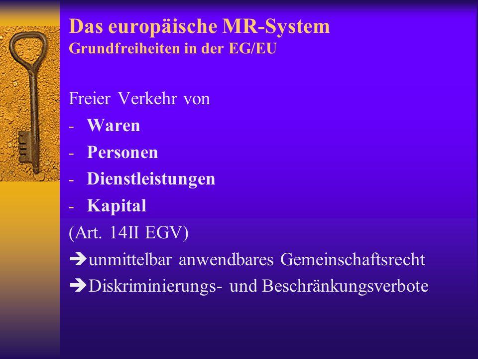 Das europäische MR-System Grundfreiheiten in der EG/EU
