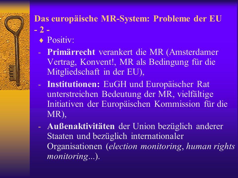 Das europäische MR-System: Probleme der EU - 2 -