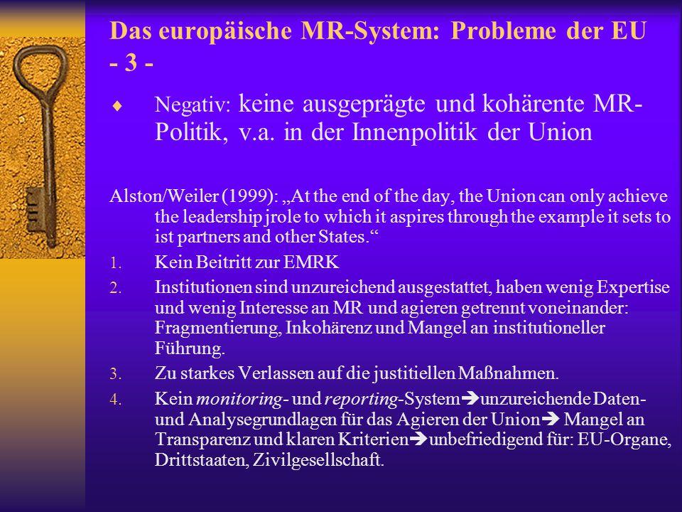 Das europäische MR-System: Probleme der EU - 3 -