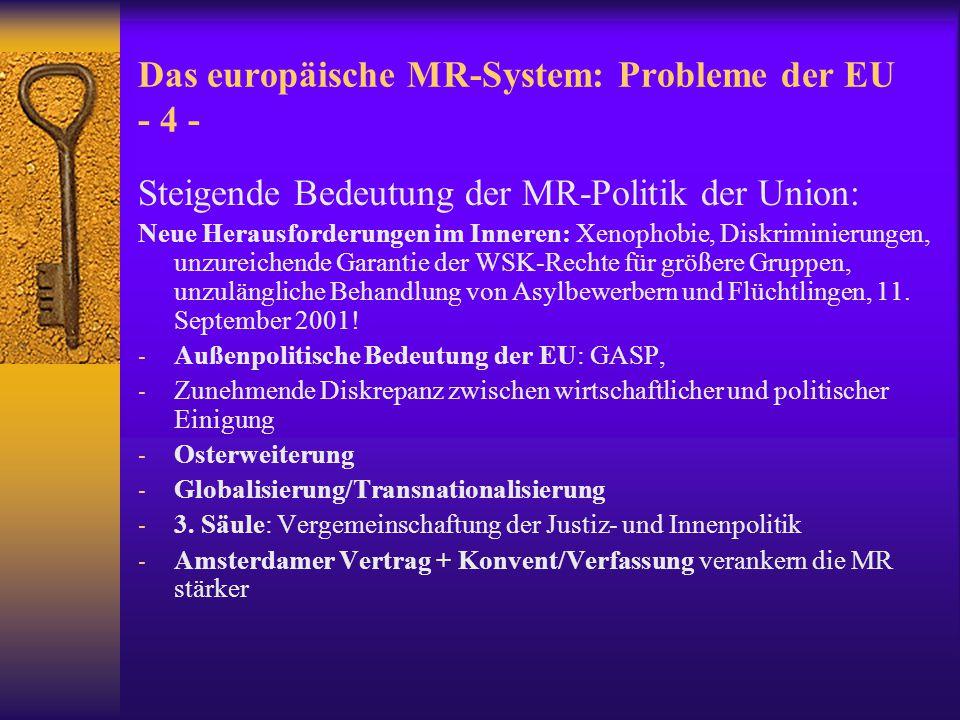 Das europäische MR-System: Probleme der EU - 4 -