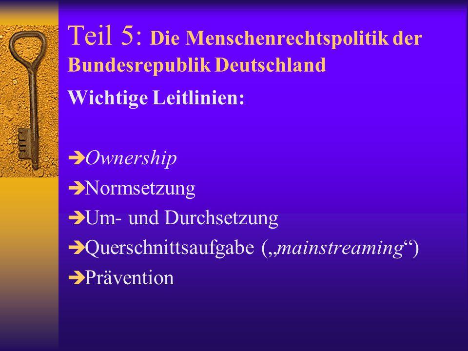 Teil 5: Die Menschenrechtspolitik der Bundesrepublik Deutschland