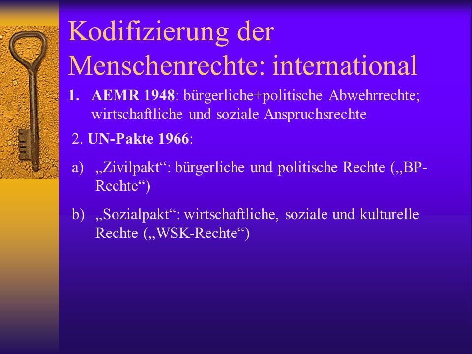 Kodifizierung der Menschenrechte: international