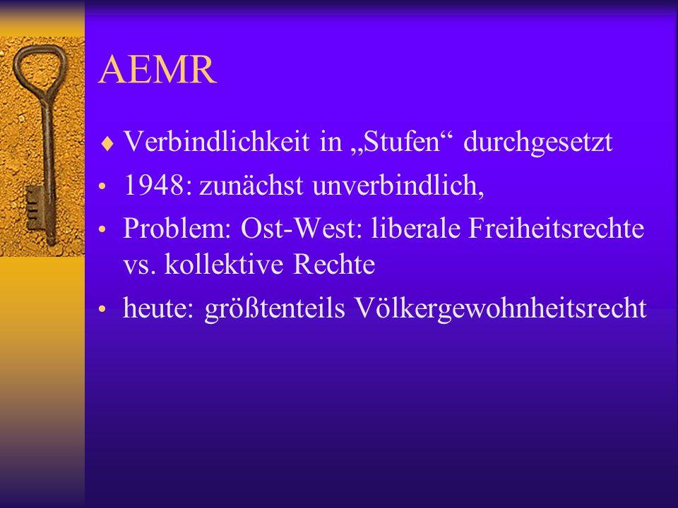 """AEMR Verbindlichkeit in """"Stufen durchgesetzt"""