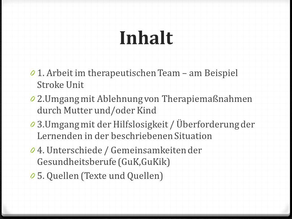 Inhalt 1. Arbeit im therapeutischen Team – am Beispiel Stroke Unit