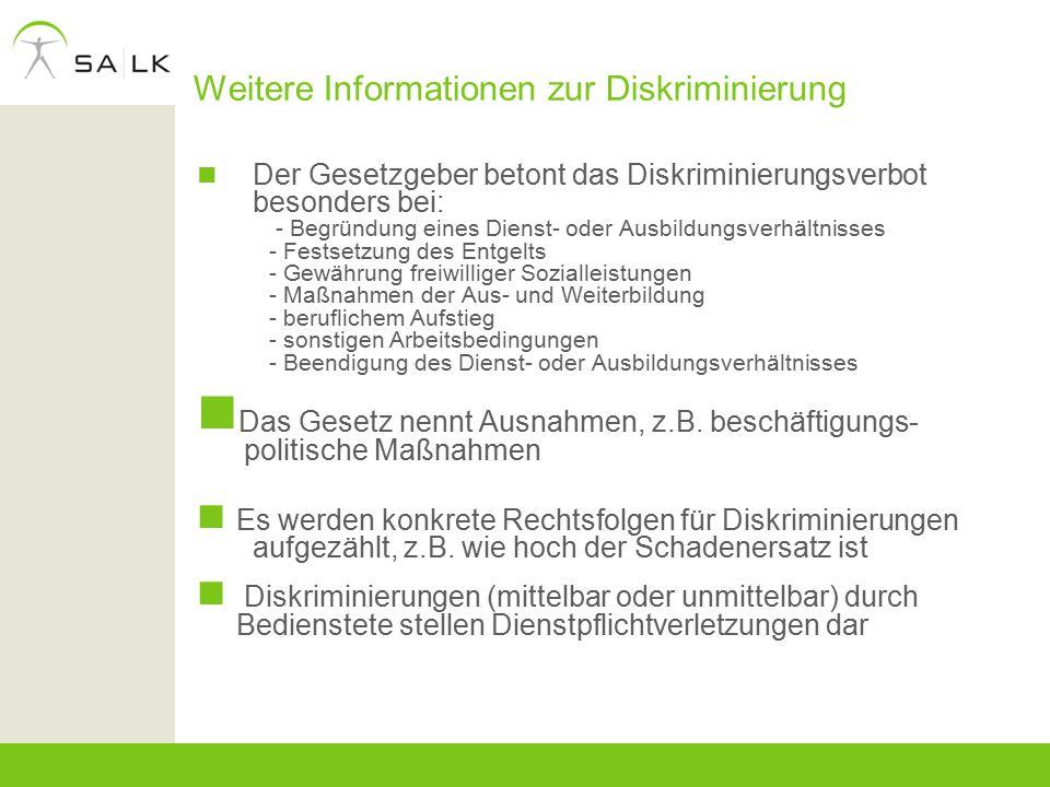 Weitere Informationen zur Diskriminierung