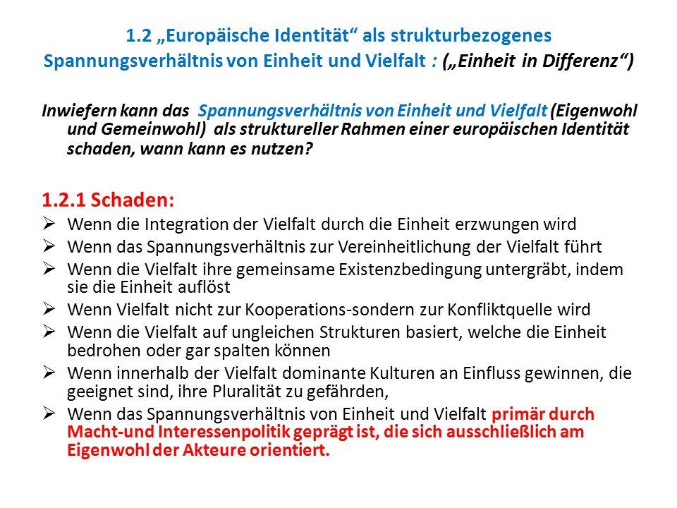 """1.2 """"Europäische Identität als strukturbezogenes Spannungsverhältnis von Einheit und Vielfalt : (""""Einheit in Differenz )"""