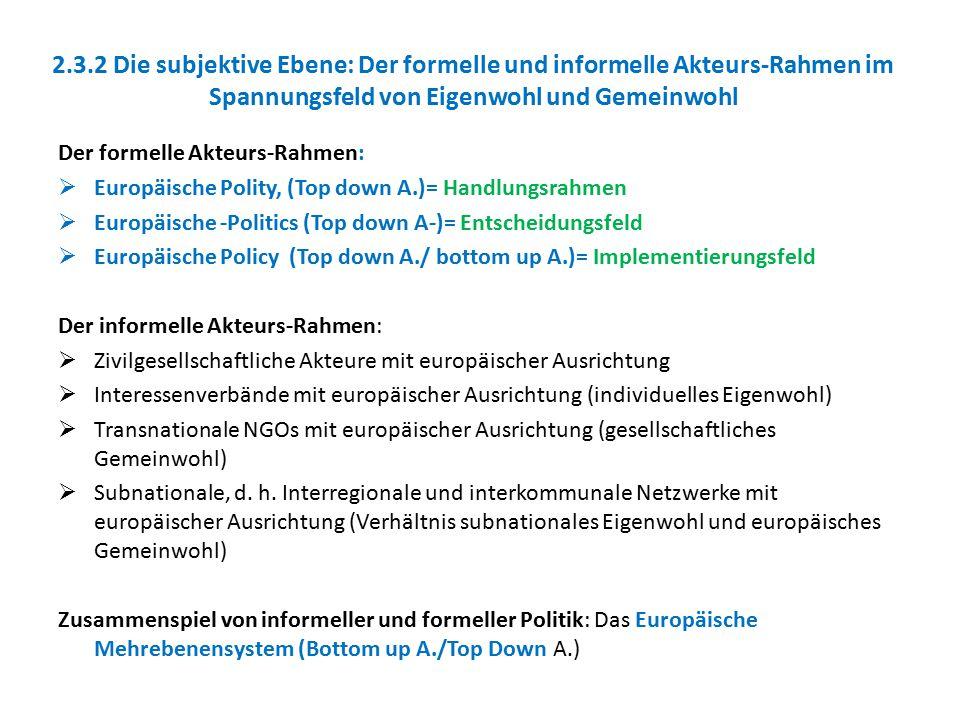 2.3.2 Die subjektive Ebene: Der formelle und informelle Akteurs-Rahmen im Spannungsfeld von Eigenwohl und Gemeinwohl