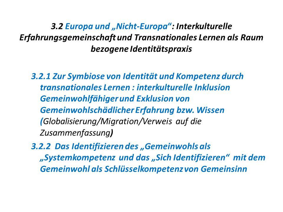 """3.2 Europa und """"Nicht-Europa : Interkulturelle Erfahrungsgemeinschaft und Transnationales Lernen als Raum bezogene Identitätspraxis"""