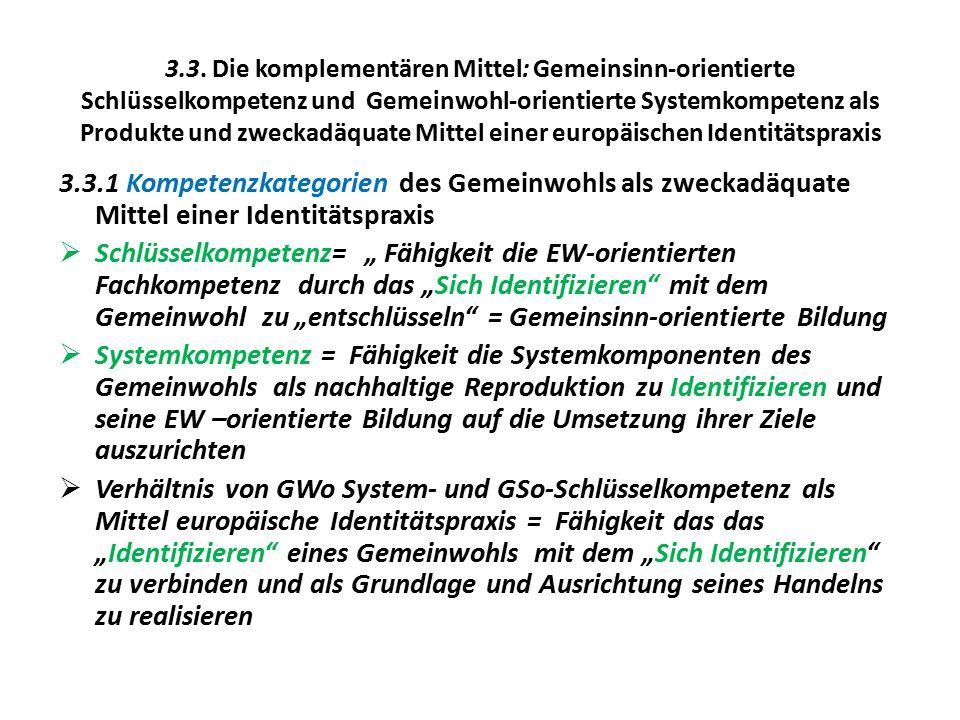 3.3. Die komplementären Mittel: Gemeinsinn-orientierte Schlüsselkompetenz und Gemeinwohl-orientierte Systemkompetenz als Produkte und zweckadäquate Mittel einer europäischen Identitätspraxis