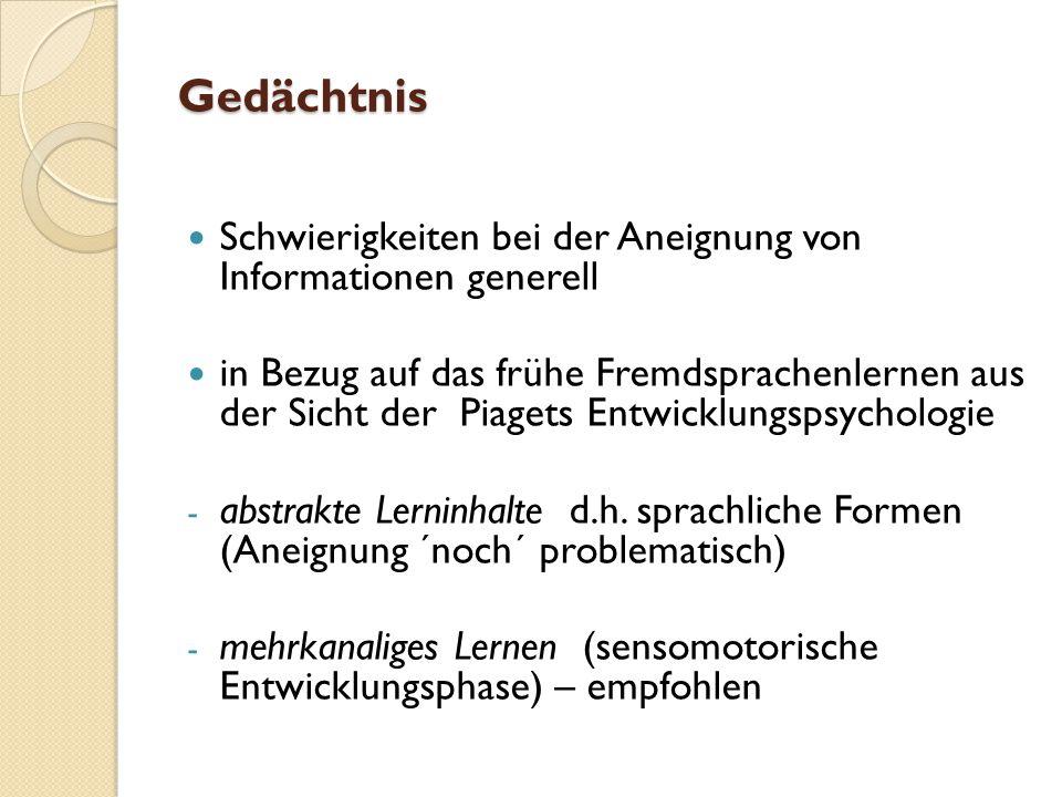 Gedächtnis Schwierigkeiten bei der Aneignung von Informationen generell.