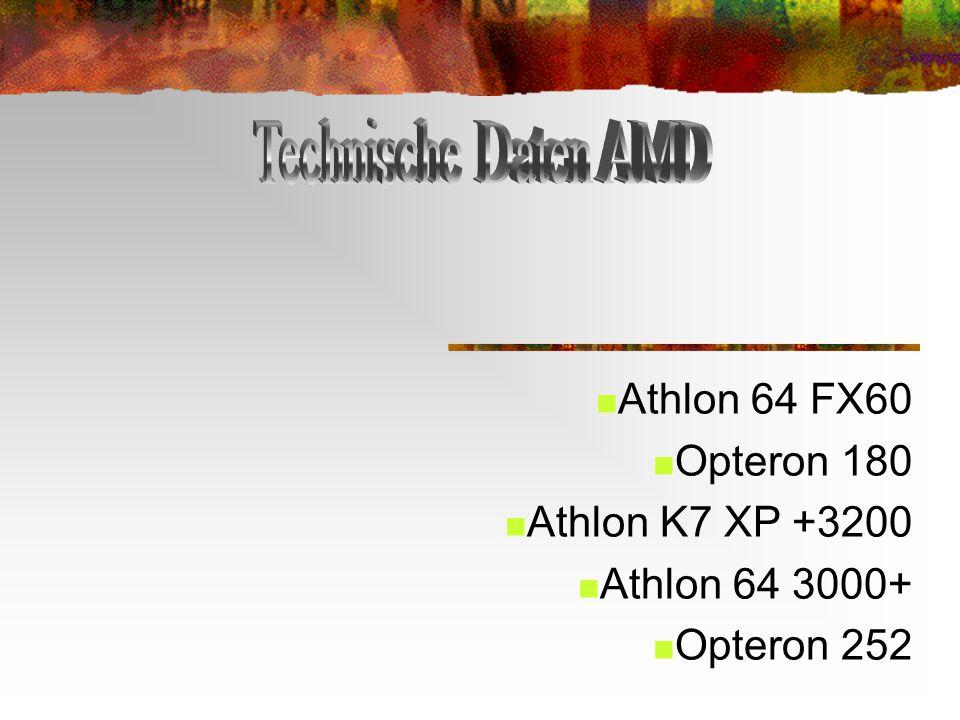 Technische Daten AMD Athlon 64 FX60 Opteron 180 Athlon K7 XP +3200