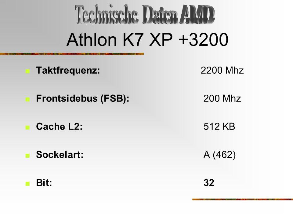 Athlon K7 XP +3200 Technische Daten AMD Taktfrequenz: 2200 Mhz