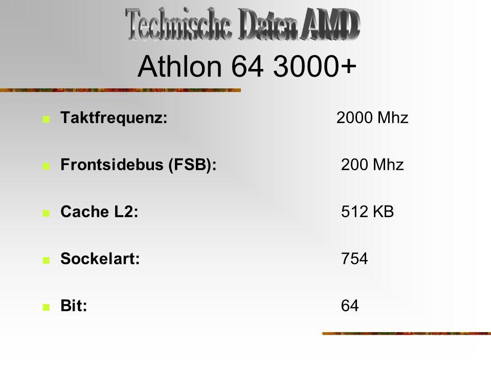 Athlon 64 3000+ Technische Daten AMD Taktfrequenz: 2000 Mhz