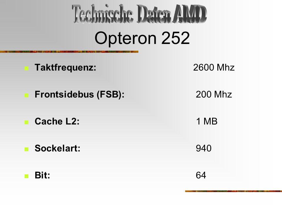 Opteron 252 Technische Daten AMD Taktfrequenz: 2600 Mhz
