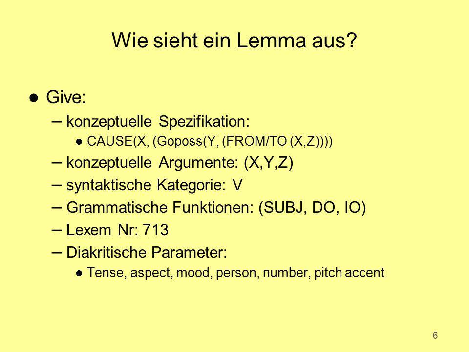 Wie sieht ein Lemma aus Give: konzeptuelle Spezifikation: