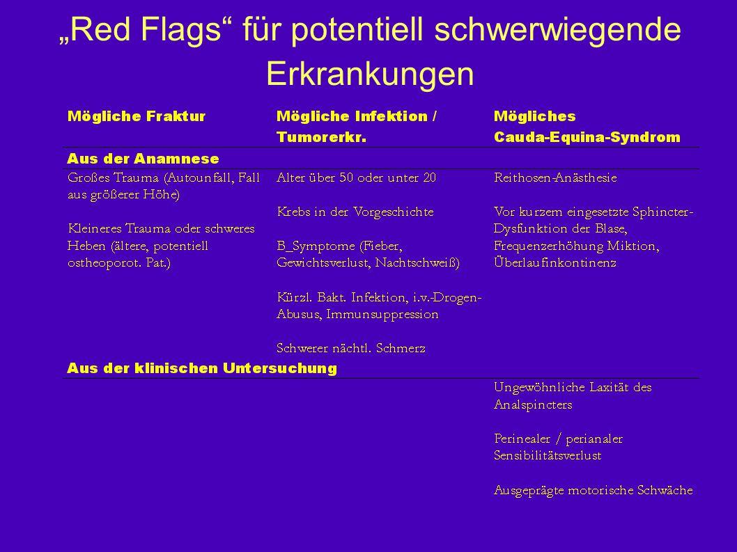 """""""Red Flags für potentiell schwerwiegende Erkrankungen"""