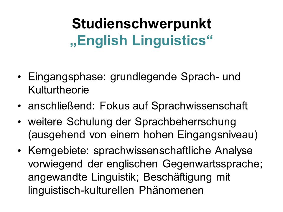 "Studienschwerpunkt ""English Linguistics"